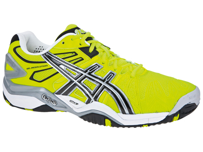 asics mens gelresolution 5 tennis shoes  flash yellow