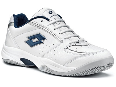 Lotto Mens Court Logo III Tennis Shoes - White/Metal Blue Night