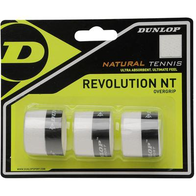 Dunlop Revolution Natural Tennis Overgrips - White (Pack of 3)
