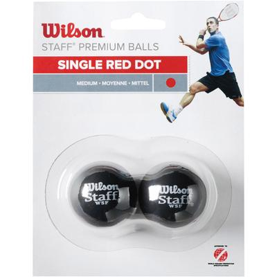 Wilson Staff Single Red Dot Squash Balls - Pack of 2