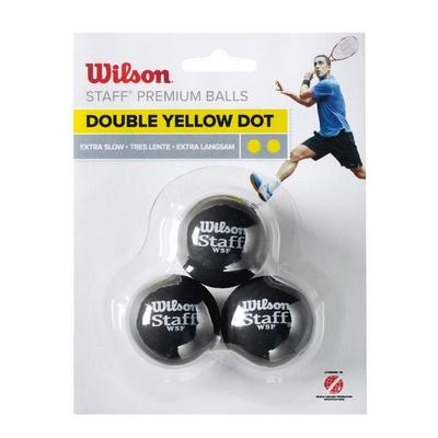 Wilson Staff Double Yellow Dot Squash Balls - Pack of 3