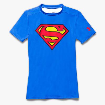 Under Armour Boys Superman Fitted Baselayer Top - Blue