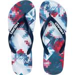 Head Printed Flip Flops - White/Blue/Red