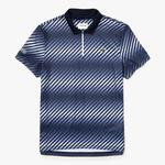 Lacoste Mens Zip Neck Shaded Stripes Tech Pique Polo - Navy Blue/White