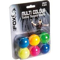 Fox Practice Table Tennis Balls - Pack of 6 (Multicoloured)