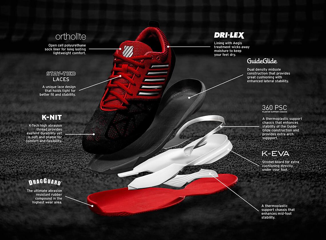 K-Swiss Mens Knitshot Tennis Shoes - Black Red - Tennisnuts.com 2a878faf468